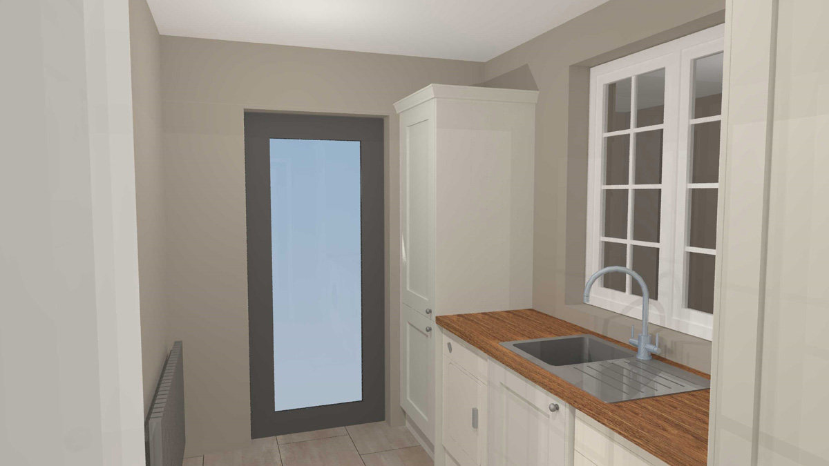 Utility room with door to garden