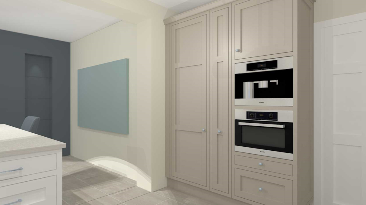 Built-in tall fridge, narrow pull-out larder and tower with coffee machine, warming drawer and combination microwave