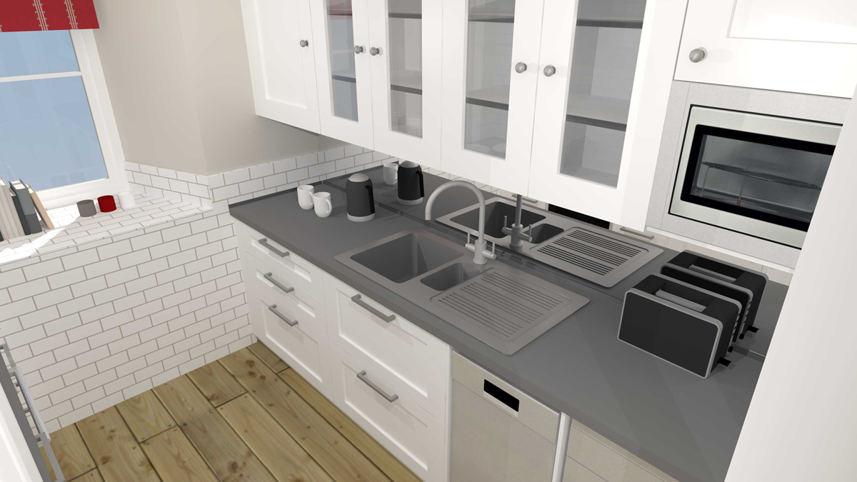 High level view of sink elevation with glass wall cupboards