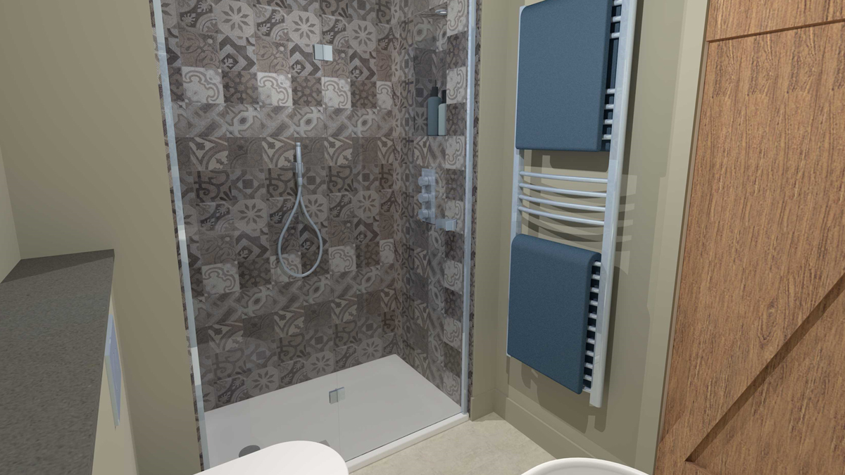 Shower enclosure and tall towel radiator