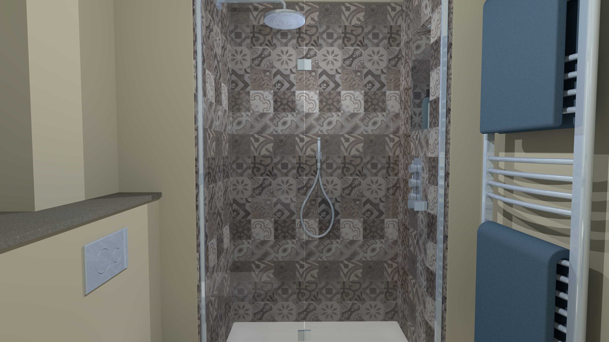 Shower enclosure with overhead shower and hand spray